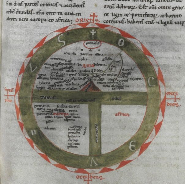 """""""T and O"""" conceptual map of the Earth, Isidore of Seville, Etymologies, southern France, XII century."""