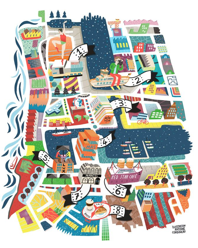 illustration: Antwerp Map - Travel - Belgium Tourism - Landmarks