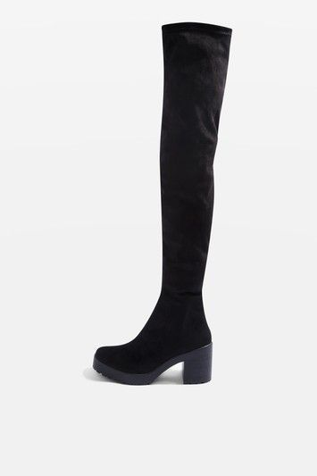 Black Suede CACTUS Micro Over The Knee Boots with Chunky Heel