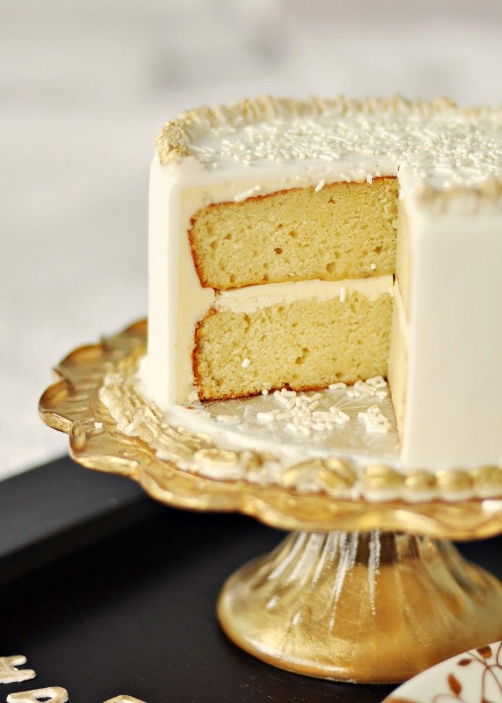 """Very-Vanilla Butter Sponge Cake --  Inspired by """"Cake Boss"""", I've decided to start searching for a good vanilla sponge cake recipe.  The box mixes come out too fluffy to make good hearty layer cakes.  Wondering how this recipe is and if I can do it without the almond extract (yuck!)."""