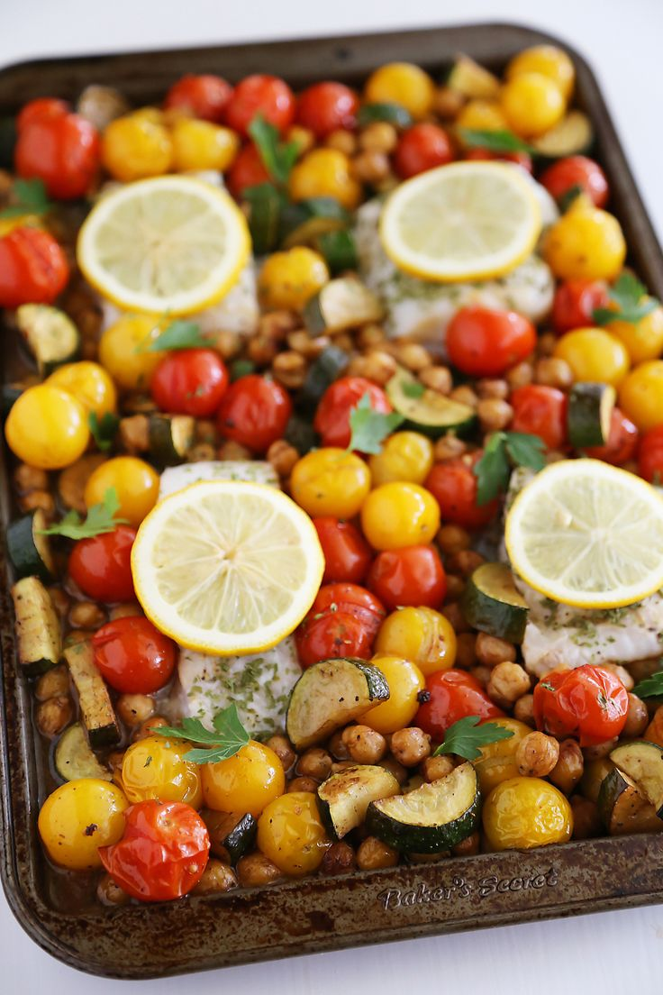 Simple baked fish with veggies recipes