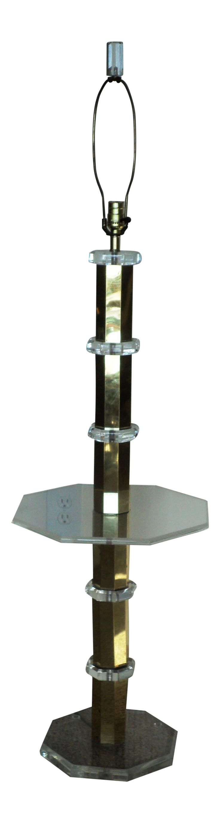 hollywood glam lucite u0026 gold floor lamp - Gold Floor Lamp