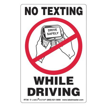 LabelMaster Self-Adhesive Label, 6 1/2 x 4 1/2, NO Texting While Driving, 500/Roll, Multicolor