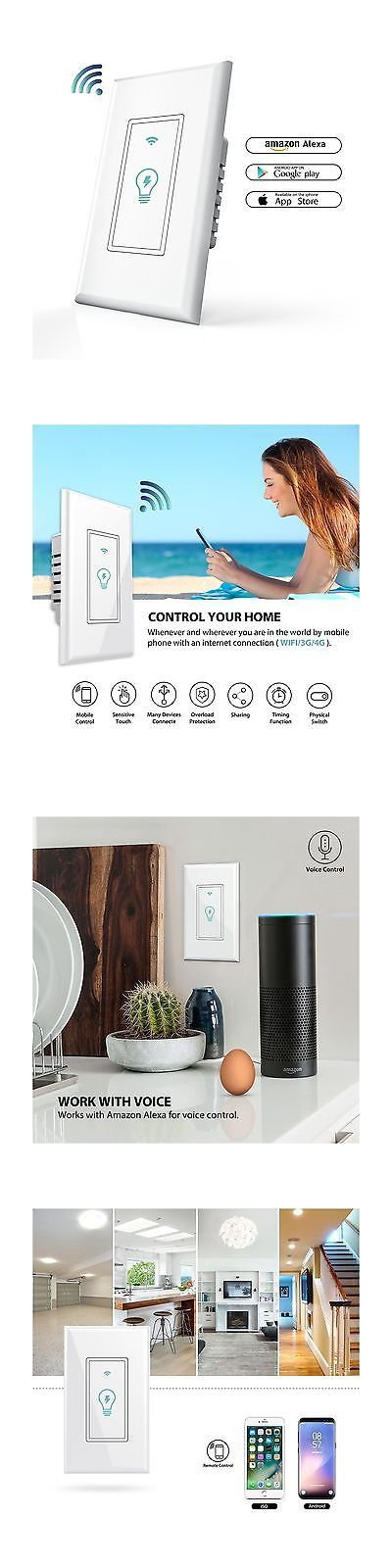 Home Automation Modules: Smart Wi-Fi Light Switch In-Wall Phone Remote Control Wireless Switch No Hub ... -> BUY IT NOW ONLY: $32.81 on eBay!