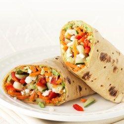 Veggie Wrap = carrot + cucumber + bell pepper + feta + guac