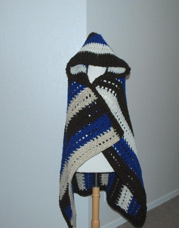 """Hooded Blanket Wrap/ great for camping our outdoor sports/ easy / use """"N"""" hook & med. wt. yarn/ FREE CROCHET pattern"""