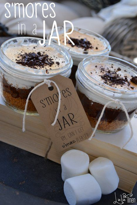 S'mores in a Jar with FREE printable tags by Lulu & Linen for Tatertots and Jello: Desserts Recipes, Desserts In A Jars Recipes, Mason Jars Cakes Recipes, Sweet Treats, S More, Cakes Jars Recipes, Cakes In A Jars Recipes, Free Printable, Smore