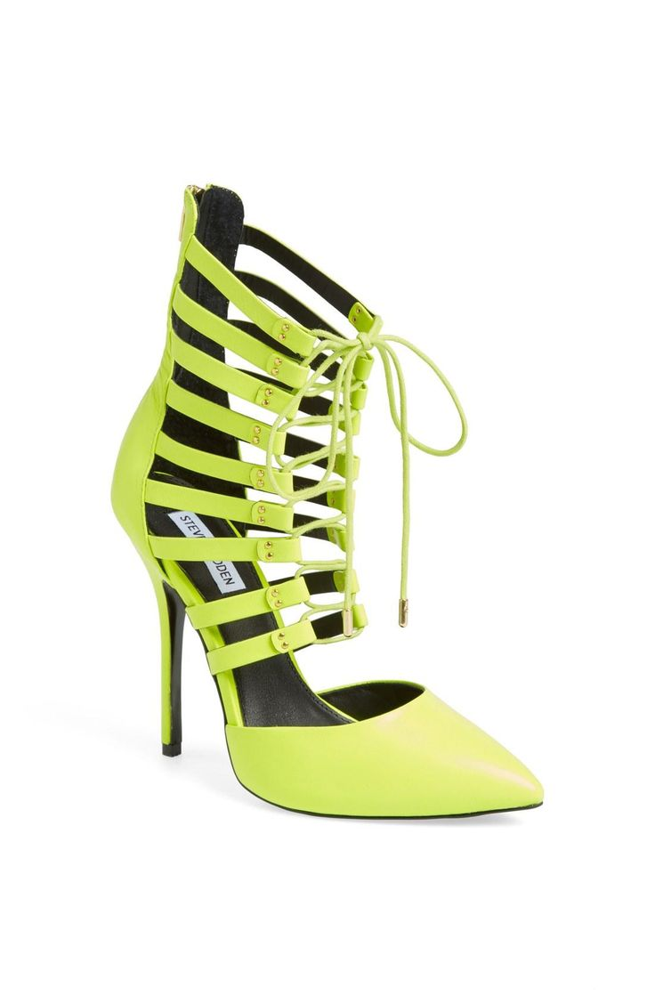 All you can do in neon yellow lace-up cage sandals is strut | Steve Madden