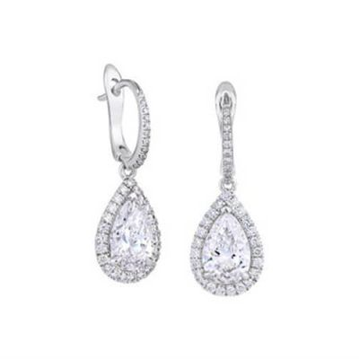 Pearl and Stardust Diamond Halo Drop Earrings