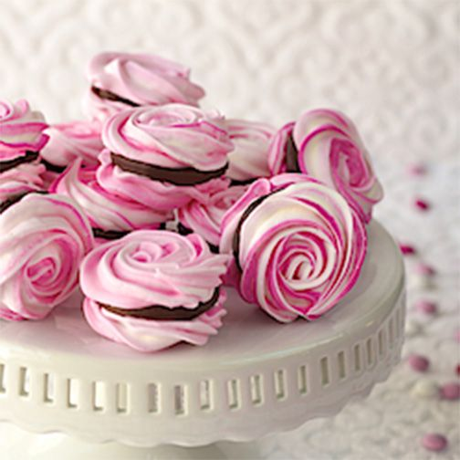 French Meringues with Strawberry-Ganache Filling