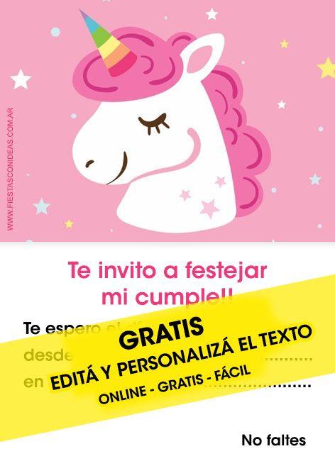 6f8f9616e Tarjeta de cumpleaños temática Unicornios. Personalizá el texto gratis.