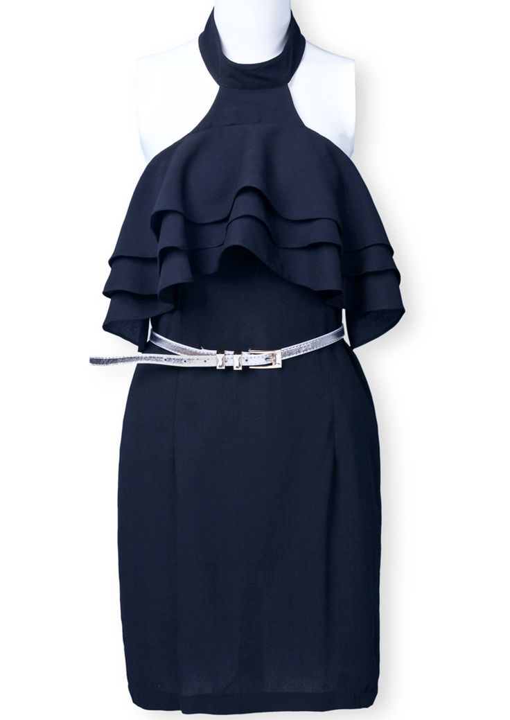 Black Halter Cascading Ruffle Belt Chiffon Dress - Sheinside.com