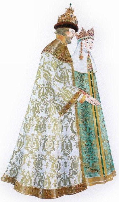Masha Kurbatova. Tsar and Tsarina. Watercolour, 2010. Tsar is a ruler in ancient Russia, Tsarina is his wife.