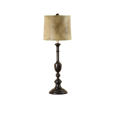 Cooper black one light candlestick table lamp with faux leather shade