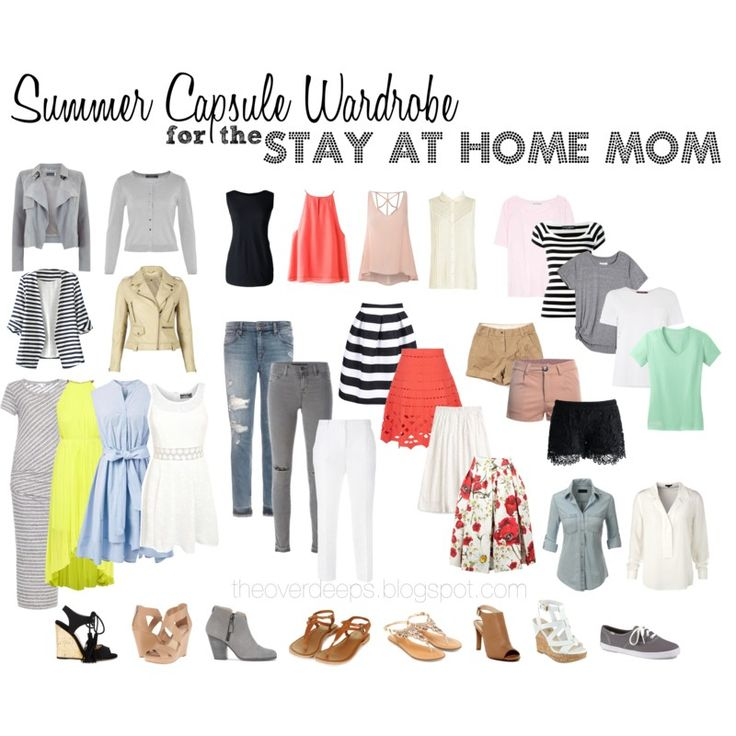 A Summer Capsule Wardrobe for the Stay at Home Mom.   Creating easy and stylish outfits for a SAHM with this summer capsule wardrobe.   The Overdeeps