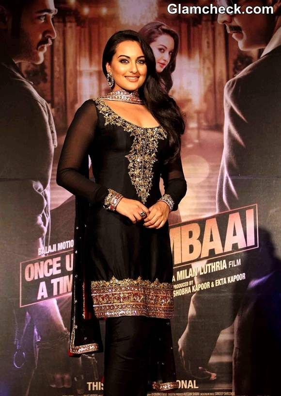 Sonakshi Sinha in black and gold salwaar kameez