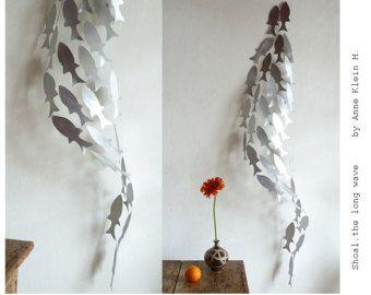 Metal wall sculpture, Shoal, Metal sculpture, Metal art, Fish sculpture, Wedding sculpture, Zen Feng shui, Aluminum, by Anne Klein H.