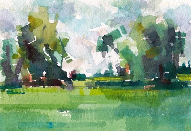 "Field 02 original watercolor 7"" x 5"". $50.00, via Etsy (Chance Lee)"