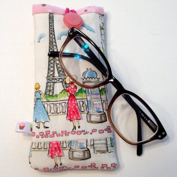Eyeglass Case Quilted Paris Padded by QuiltedCupcake on Etsy, $9.50