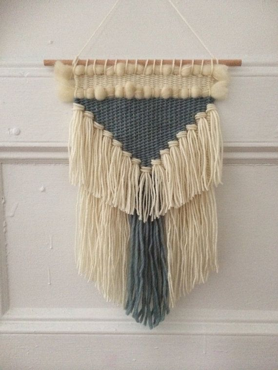 Blue Fringed Triangle Woven Wall Hanging