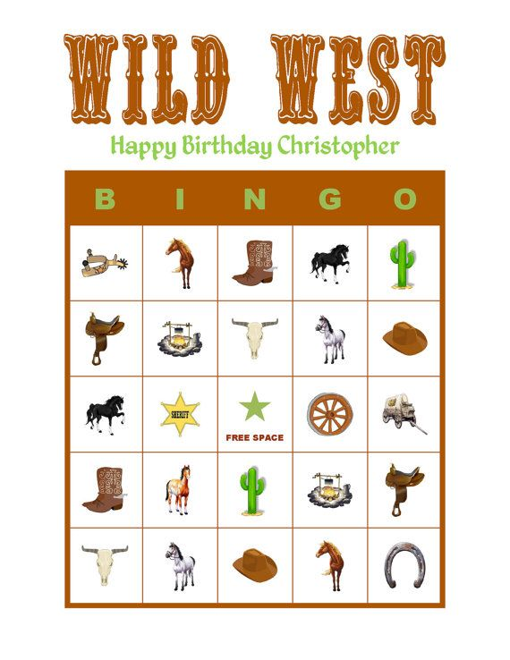 personalized wild west horse birthday party game bingo cards delivered by email