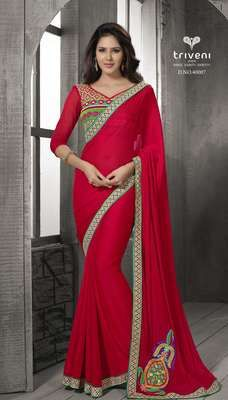 Superb Red color Border Worked Chiffon Saree Sarees on Shimply.com