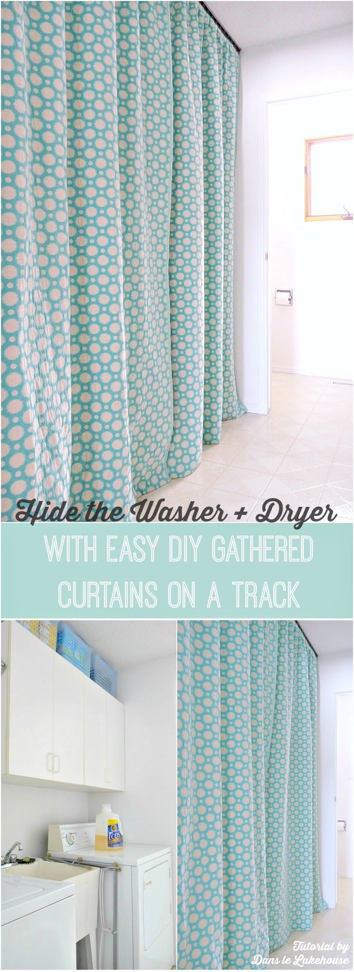 Hide a Washer and Dryer with Easy DIY Gathered Laundry Room Curtains on a Track