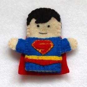 Superman felt fingerpuppet, handmade by Joanne Rich.
