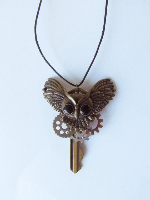 Hey, I found this really awesome Etsy listing at https://www.etsy.com/listing/235185905/steampunk-owl-key-necklace