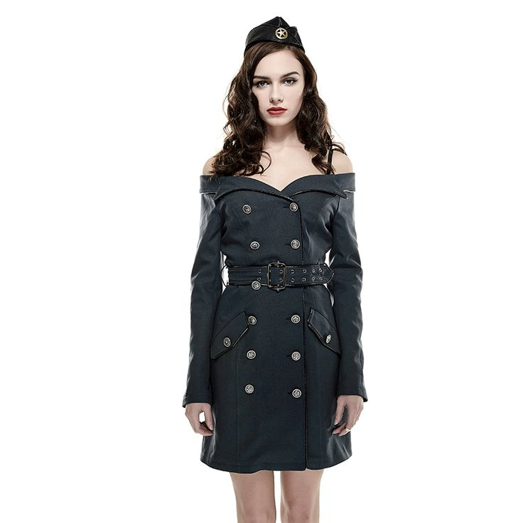 Steampunk Sky Captain coat dress by Punk Rave | OtherWorld Fashion