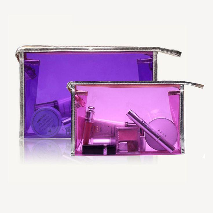 Transparent cosmetic bag Multi-colors Fashion Women Handbag organizer Travel Cosmetic Pouch pvc bag toiletry Casual makeup bag