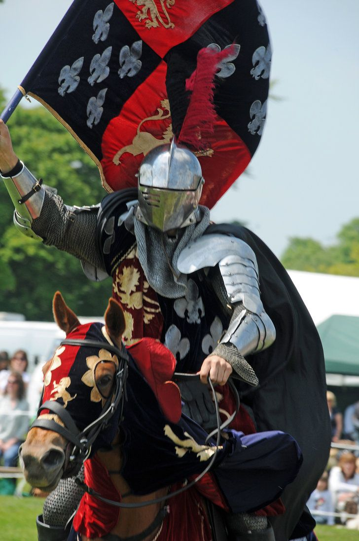 Groupement Knight 4 by chavi-dragon on deviantART ( knight, armor, flagm horse, jousting, red and black)
