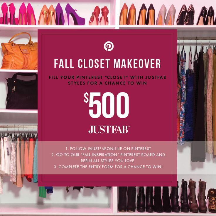 Pin to Win $500! Enter the JustFab Fall Closet Makeover Contest by re-pinning your favorite styles from our Fall Inspiration board, and submitting your pins here: https://www.facebook.com/justfab/app_588198187877399?ref=ts