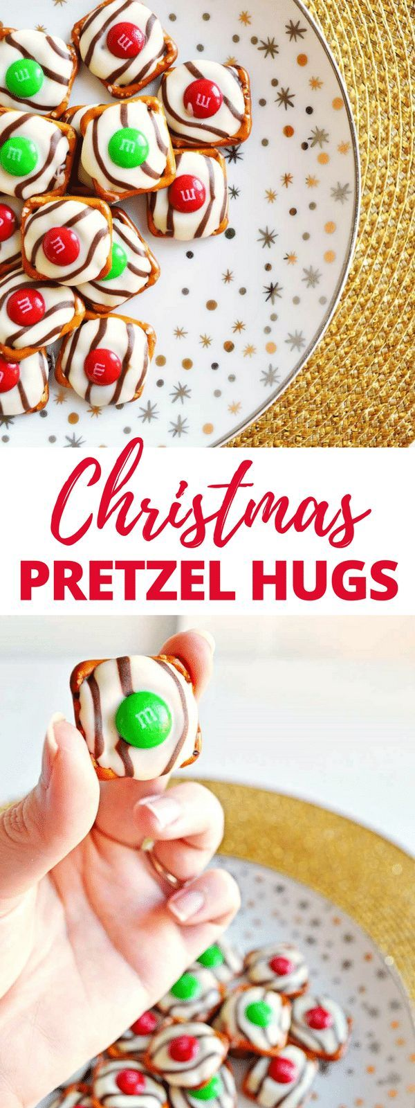 Salty-sweet Christmas pretzel hugs treats are quick and easy to make with just 3 ingredients: square pretzels, M&Ms, and Hershey's Hugs. #ChristmasTreat #SaltySweet #HolidayRecipes #EasyRecipe #3ingredient