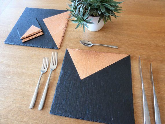 Slate Placemats Coasters Copper Silver Gold Design Etsy