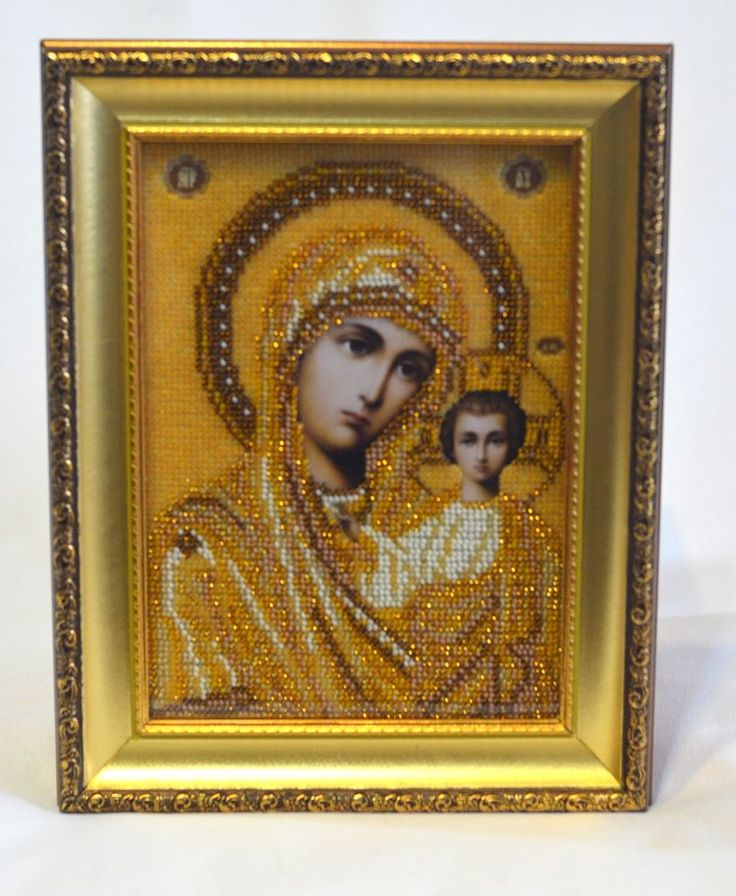 Handmade Bead Embroidery. Icon. Saint Mary or the Blessed Virgin Mary