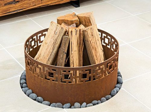 Fire Pit Ring - Small Laser cut corten steel fire ring! #outdoorideas #firering…