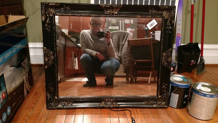 Cut your mirror film to just slightly larger than the piece of glass you are using for your frame. I picked up my glass from Lowe's. ...