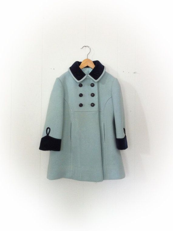 Vintage 1960s Girl Childs Coat Rothschild of Philadelphia Aqua Wool and Blue Velvet Trim