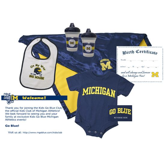 University of Michigan Kids Go Blue Club Baby Pack! Includes onesie, baby bib, blanket, sippy cups, Michigan fan birth certificate, and Michigan Athletics kids go blue club membership!