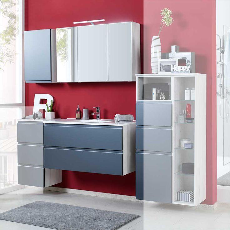 Badmöbel Set Mit Spiegelschrank Grau Hochglanz Eiche Weiß (3 Teilig) Jetzt  Bestellen Unter