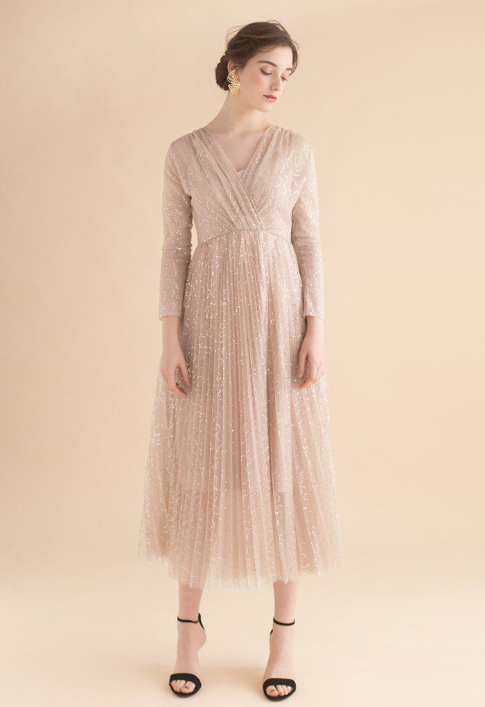 27fd65ec542c Under the Spotlight Sequins Pleated Maxi Dress in Apricot - Retro ...
