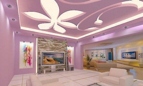 Italian false ceiling designs with decorative shaped fluorescent lamps