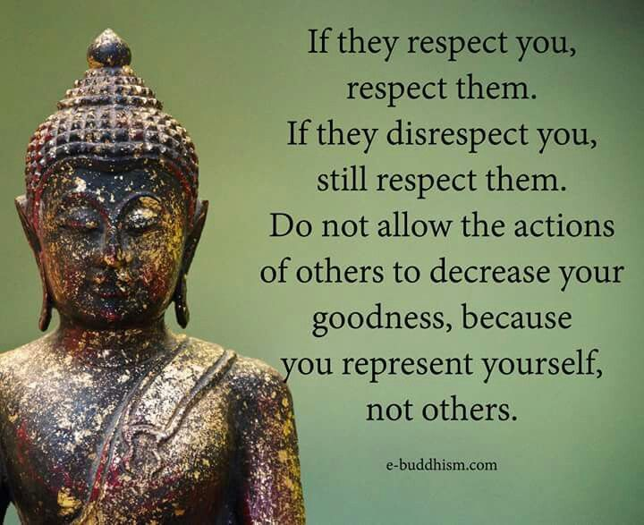 Because you represent yourself, not others. Respect, with boundaries. We don't want to allow others to hurt us in any way, sometimes being respectful to ourselves and others is to simply walk away, respectfully.