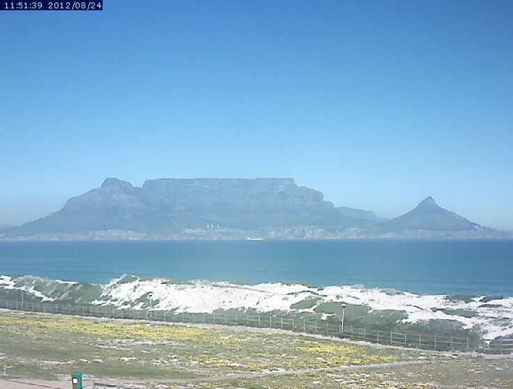 Table Mountain Webcam (Cape Town, South Africa) as viewed from across Table Bay from Blouberg, Bloubergstrand, Tableview, Table View, Atlantic Beach