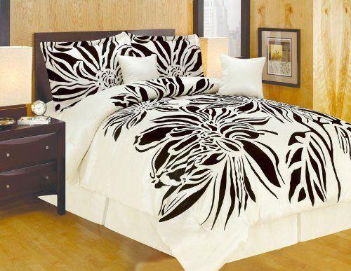 oversize king faux silk modern beige black flocking satin comforter set beddingina