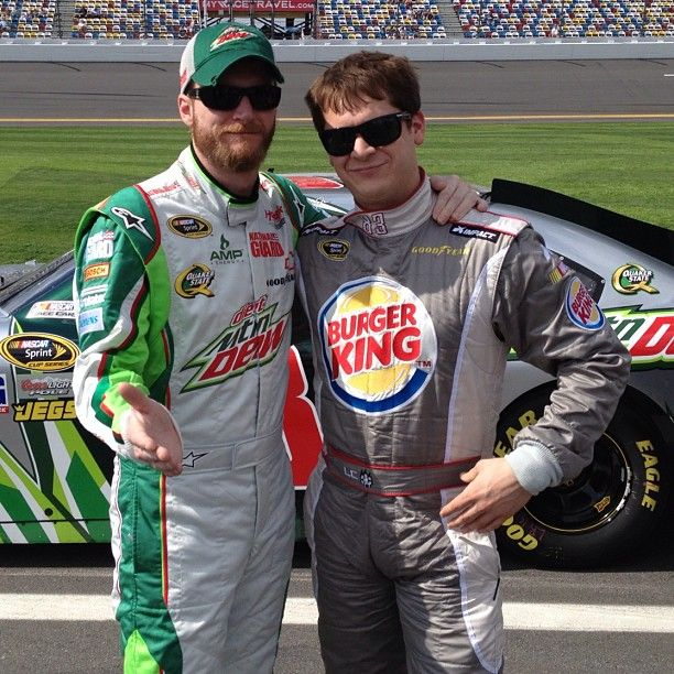Dale Earnhardt Jr. and Landon Cassill hanging out on pit road before Daytona 500 qualifying.