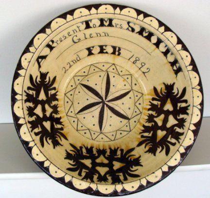 Seaton Pottery, Aberdeen. 19th Century slipware sgraffito dairy bowl.