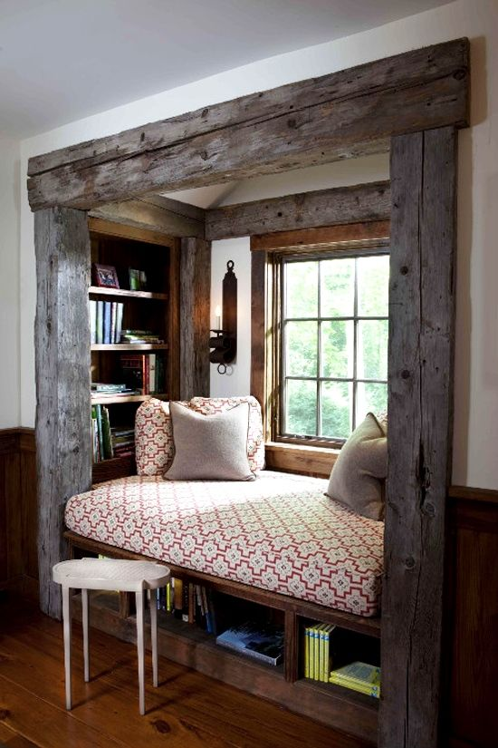rustic window seat reading nook i used to dream of one of these when i was a little girl maybe curtains could double as a spare bed when extra room is