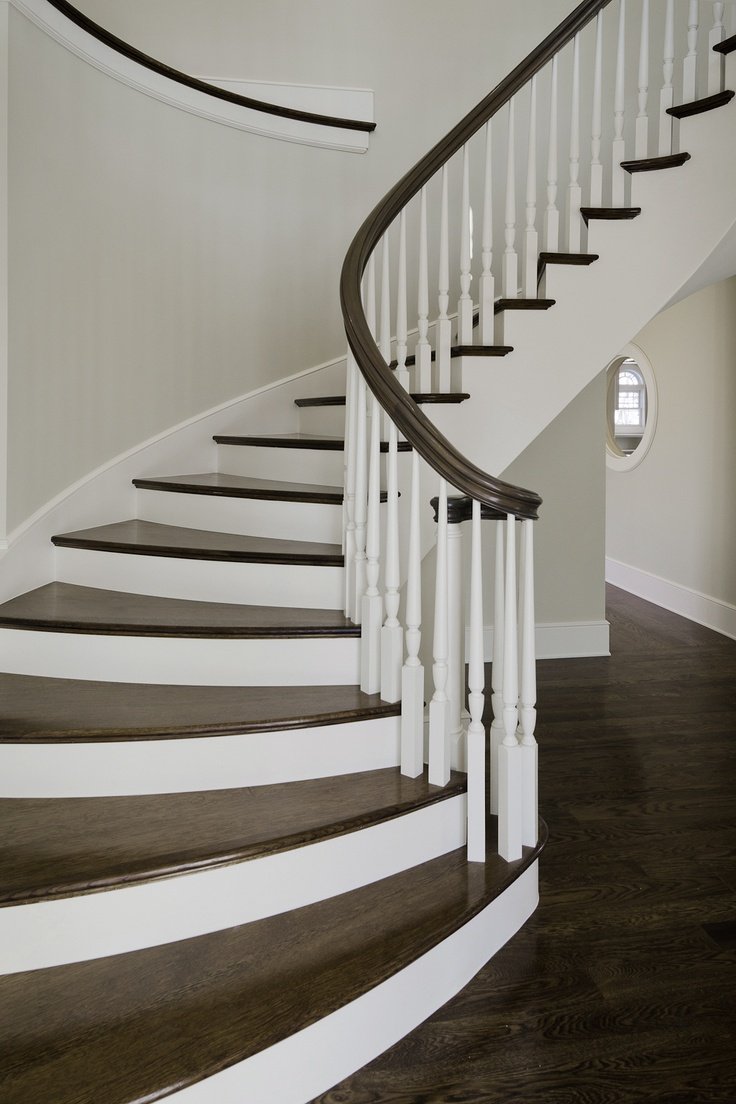 Remodeled stairway. Like the white in between the stairs with a runner